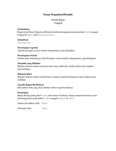 Notula untuk rapat organisasi (formulir panjang)