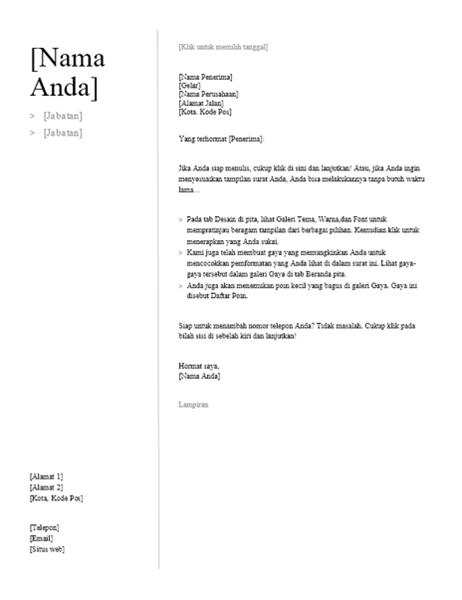 Surat Lamaran untuk Resume Kronologis (Desain Sederhana)