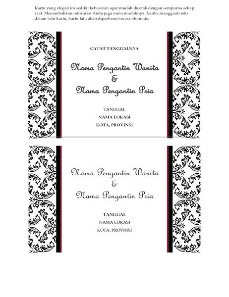 Kartu pengingat tanggal pernikahan (Desain pernikahan Hitam dan Putih)