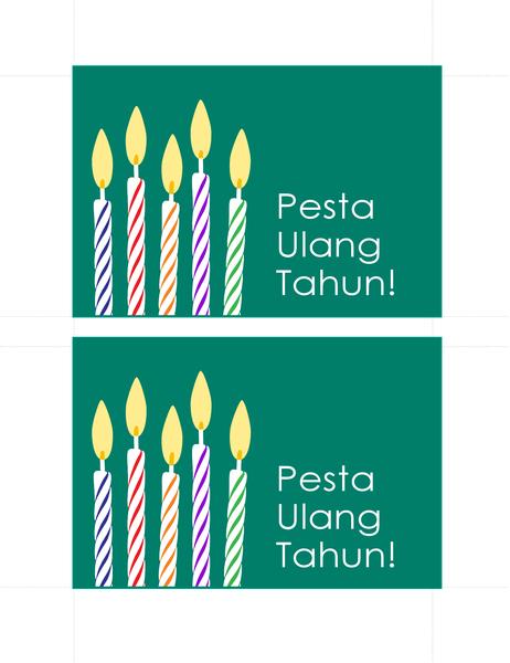 Kartu pos undangan ulang tahun (2 per halaman)