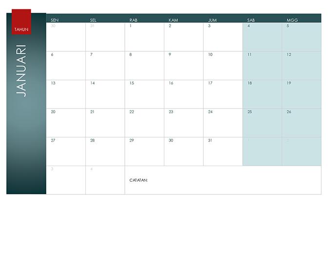 Kalender tahun kapan pun (Tema Ion)