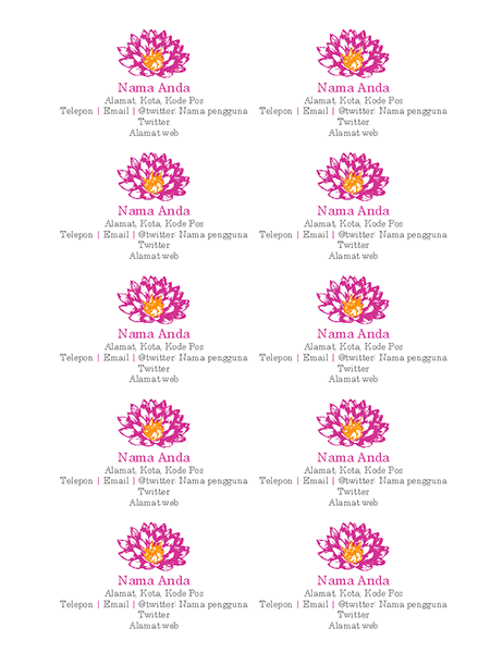 Kartu nama pribadi bertema bunga