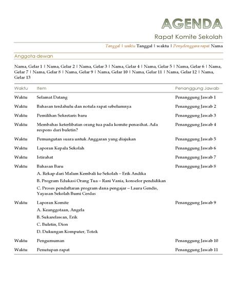 Agenda Komite Sekolah