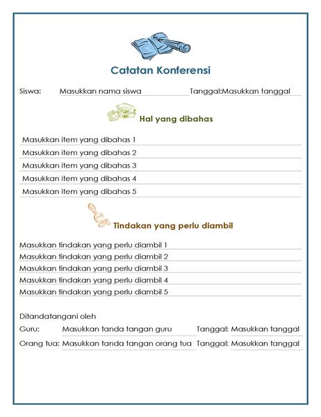Catatan pertemuan guru dan orang tua