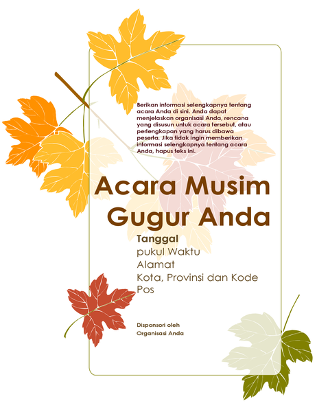 Selebaran acara musim gugur (dengan daun)