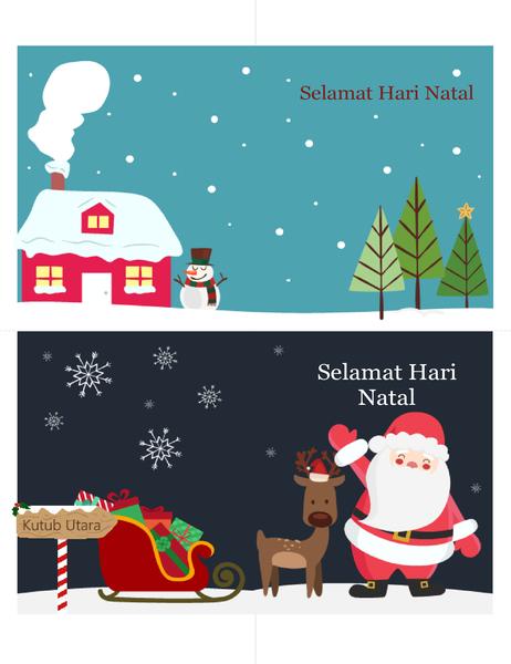 Kartu Ucapan Natal (Desain Semangat Natal, 2 per halaman, untuk kertas Avery)