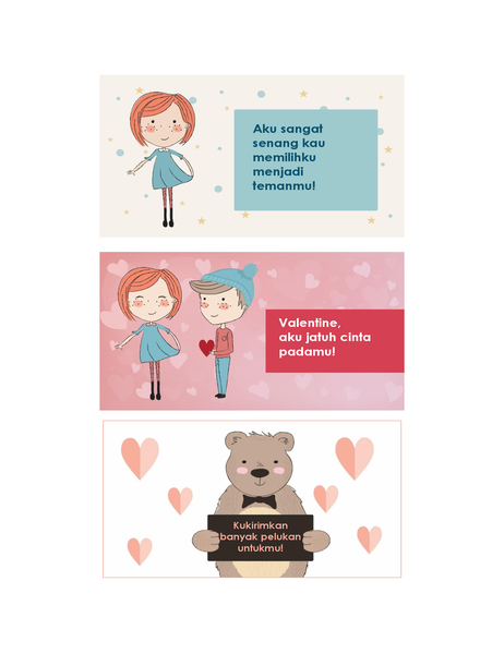 Valentine untuk anak-anak (12 desain, 3 per halaman)