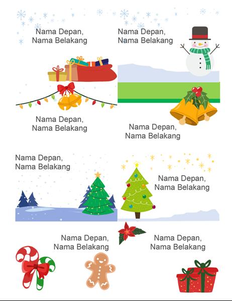Lencana nama hari raya (8 per halaman, desain Semangat Natal, dapat dicetak pada kertas Avery 5395 dan yang serupa)