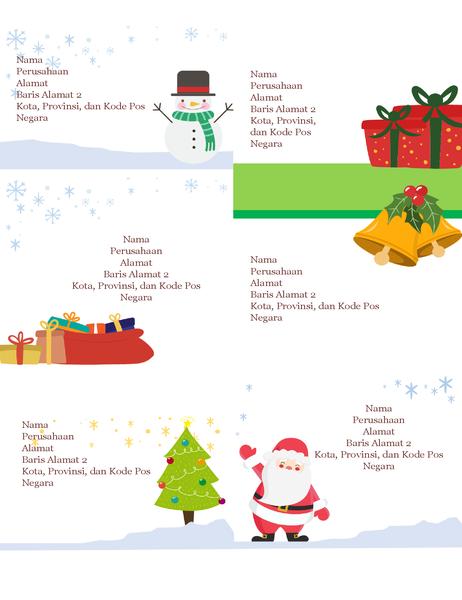 Label pengiriman hari raya (Desain Semangat Natal, 6 per halaman, dapat dicetak pada kertas Avery 5164 dan yang serupa)