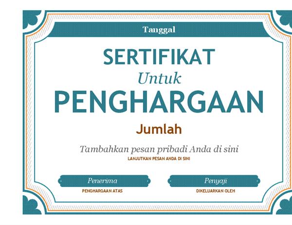 Penghargaan sertifikat hadiah