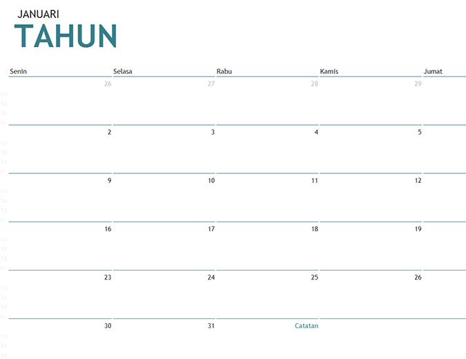 Kalender satu bulan untuk tahun apa pun dengan catatan