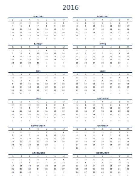 Kalender satu tahun