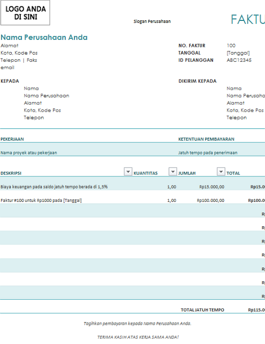 Faktur dengan biaya keuangan (biru)