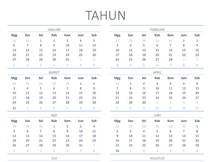 Kalender semua tahun (Sen-Min)
