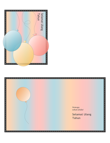 Kartu ucapan Selamat Ulang Tahun (dengan balon dan garis, empat lipatan)