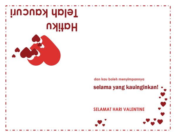 Kartu Hari Valentine (desain hati, empat lipatan)