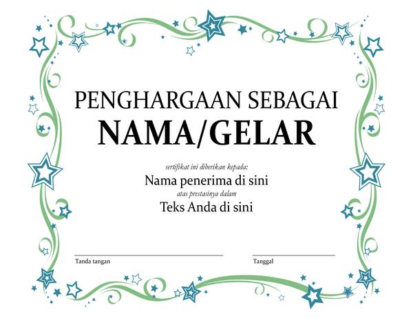 Sertifikat Penghargaan Terbaik