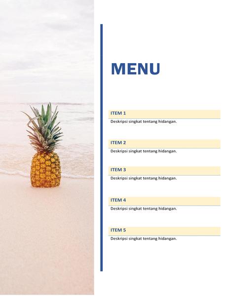 Menu pesta (desain matahari dan pasir)