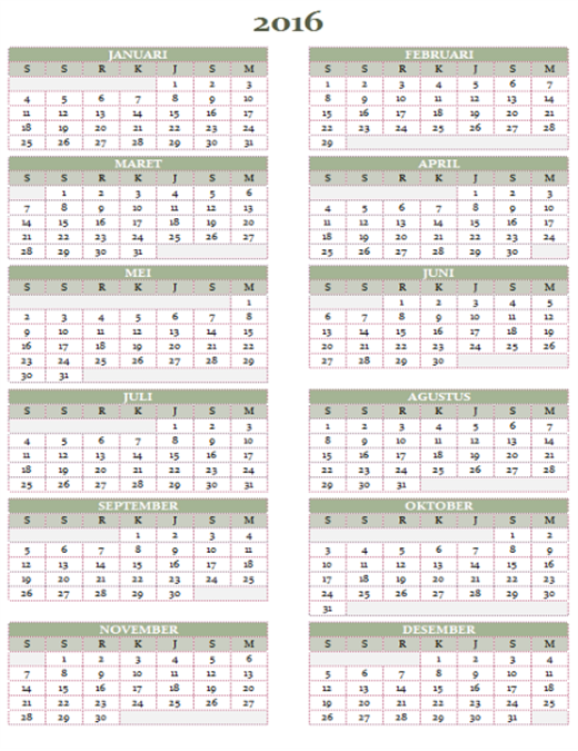 Kalender tahunan 2016-2025 (Sen-Min)