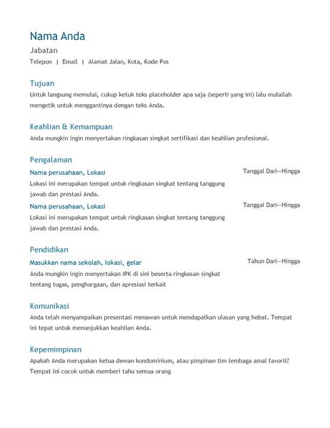 Resume (kronologis)