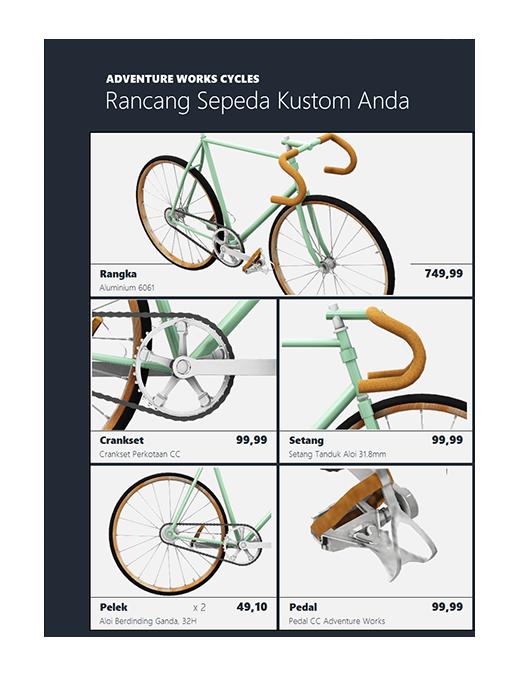 Katalog produk Excel 3D (Model sepeda)