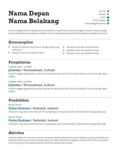 Resume Seimbang (Desain modern)