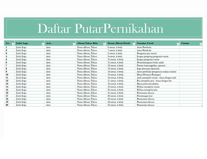 Daftar putar pernikahan