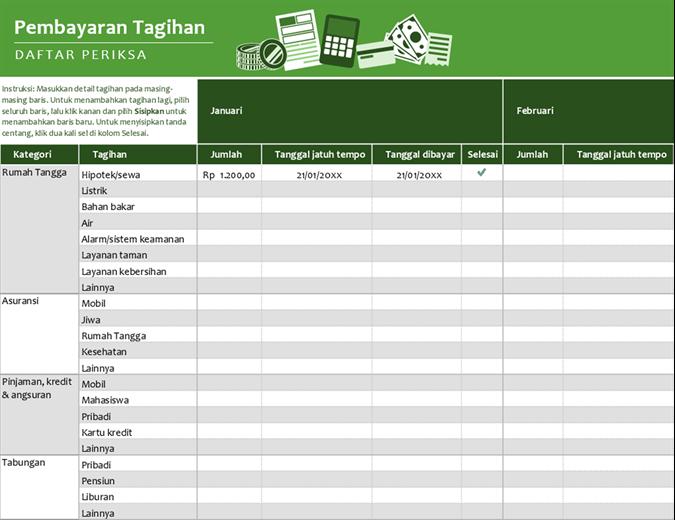 Daftar periksa pembayaran tagihan