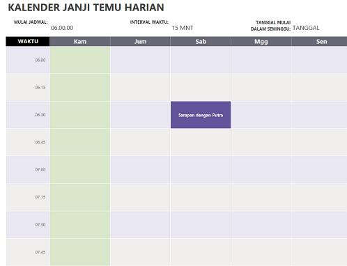 Kalender janji temu harian