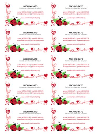 Kartu nama (ladybug dan hati, di tengah, 10 per halaman)