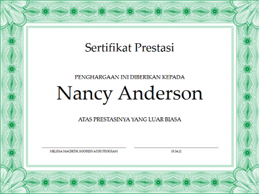 Sertifikat prestasi (hijau)