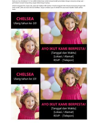 Kartu pos undangan pesta ulang tahun