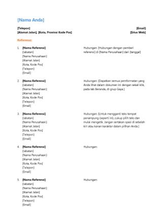 Daftar pemberi referensi untuk resume (Desain fungsional)