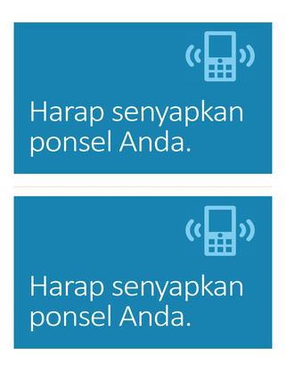 Poster pengingat untuk mematikan ponsel (biru)