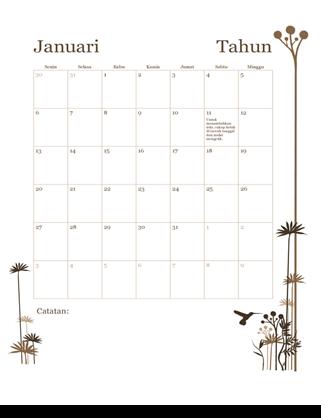 Kalender 12 bulan 12 (Sen-Min)