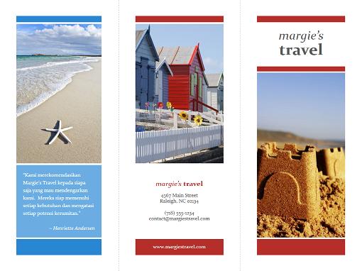 Brosur perjalanan lipat tiga (desain merah, emas, biru)