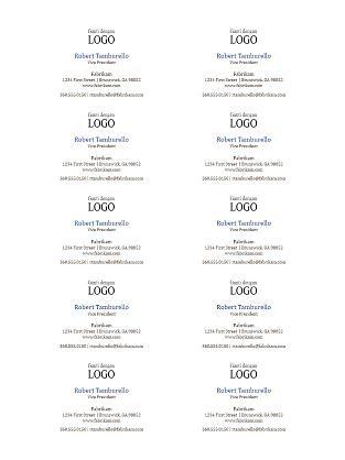Kartu Bisnis, tata letak horizontal dengan logo (10 per halaman)
