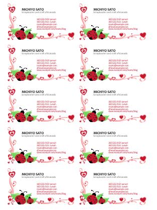 Kartu Nama (ladybugs dan hati, rata kiri, 10 per halaman)