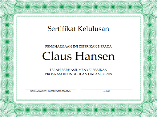 Sertifikat kelulusan (hijau)