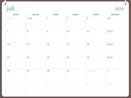 Kalender akademis 2014-2015 (Juli-Juni)