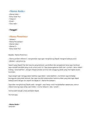 Surat lamaran resume fungsional (serasi dengan resume fungsional)