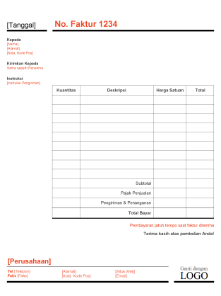 Faktur bisnis (Desain Merah dan Hitam)