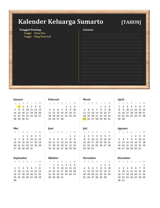 Kalender keluarga (tahun apa pun, Sen-Min)