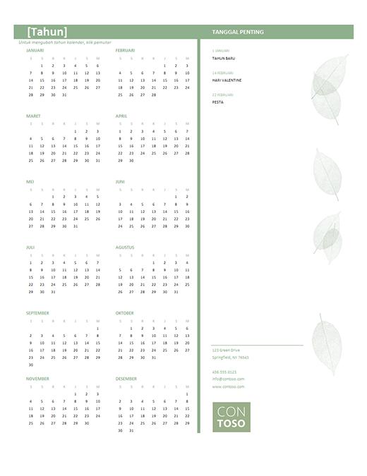 Kalender bisnis kecil (tahun apa pun, Sen-Min)