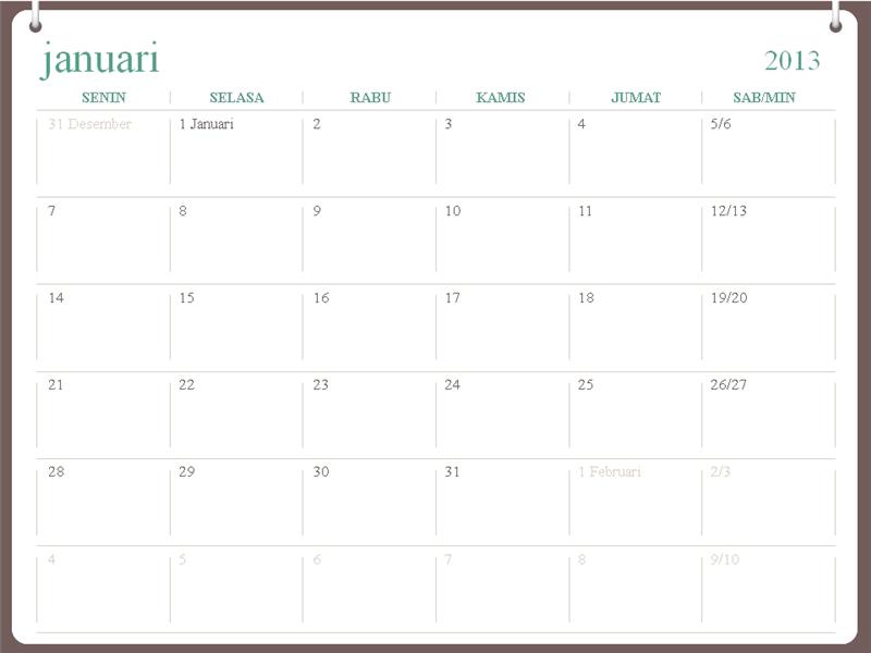 Desain dua cincin kalender 2013 (Sen-Min)