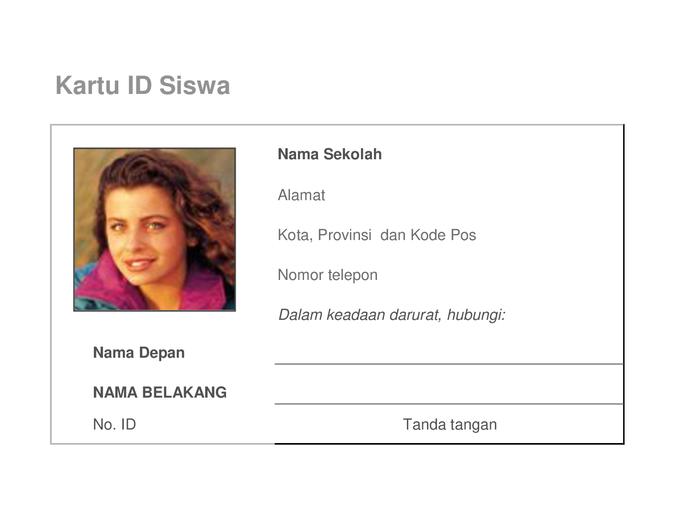 Kartu identifikasi siswa