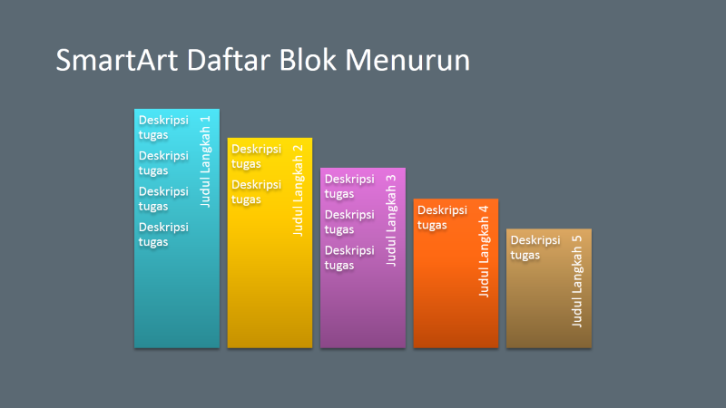 Slide SmartArt Daftar Blok Menurun (multiwarna dengan latar abu-abu), layar lebar