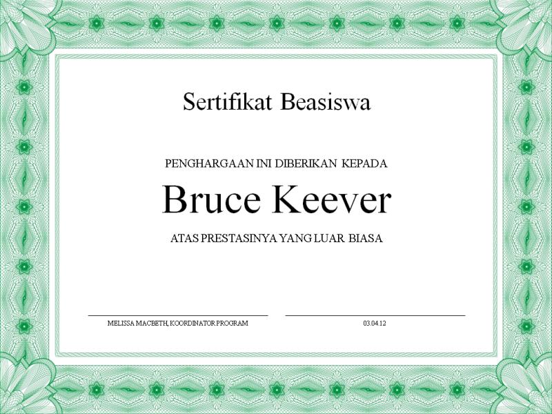 Sertifikat Beasiswa (batas hijau formal)