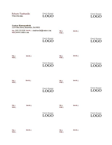 Kartu bisnis, tata letak horizontal dengan logo, teks rata kiri