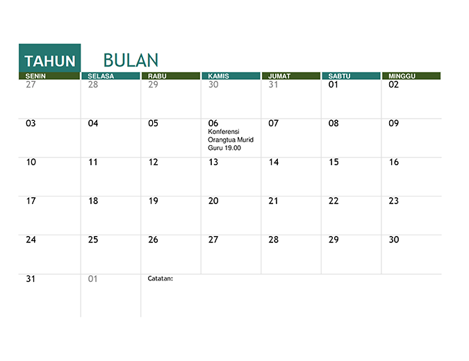 Kalender akademik (tahun kapan pun)